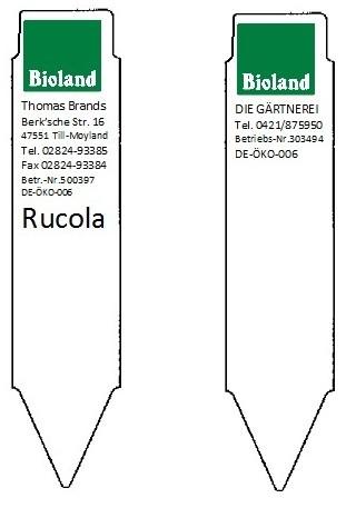 Stecketiketten Bioland-Logo und Erzeugereindruck