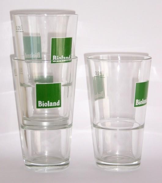 Trinkgläser mit Bioland-Aufdruck