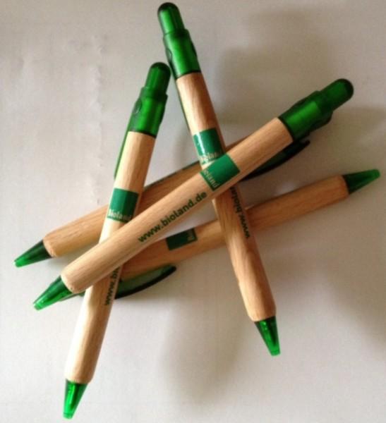 Holzkugelschreiber mit Bioland-Aufdruck