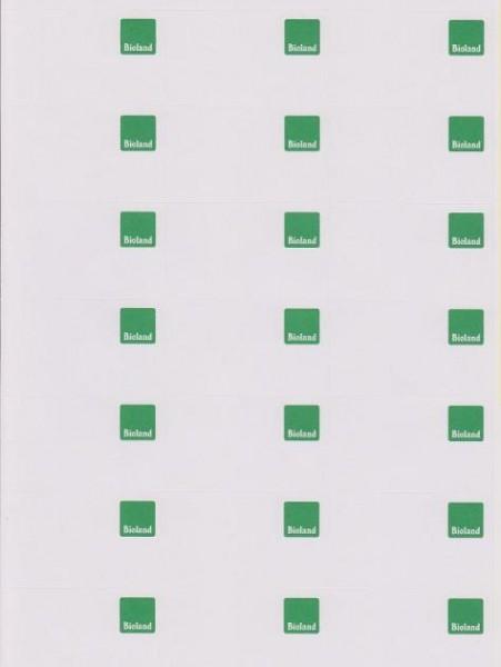 Computeretikett, Bogenware mit Bioland-Logo