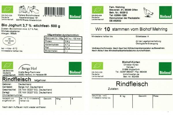 Rechteckig.Klebe-Etikett mit Druck 10x6cm