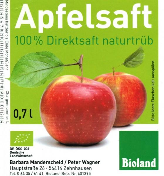 """Apfelsaft-Etiketten """"Bioland"""" mit Erzeugerdruck (und sonstige Obstsorten)"""