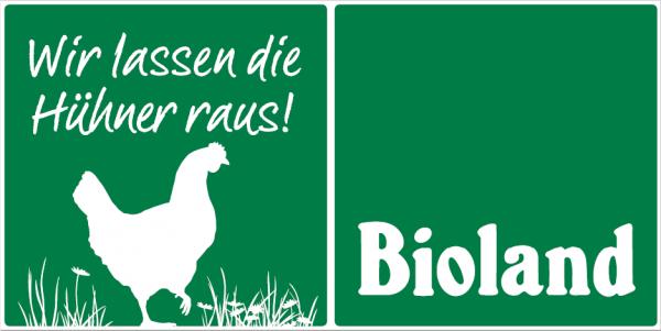 """Schild """"Wir lassen die Hühner raus"""""""