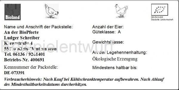 Eierumkartonetiketten 16x8 cm weiß, zur indiviuellen Beschriftung